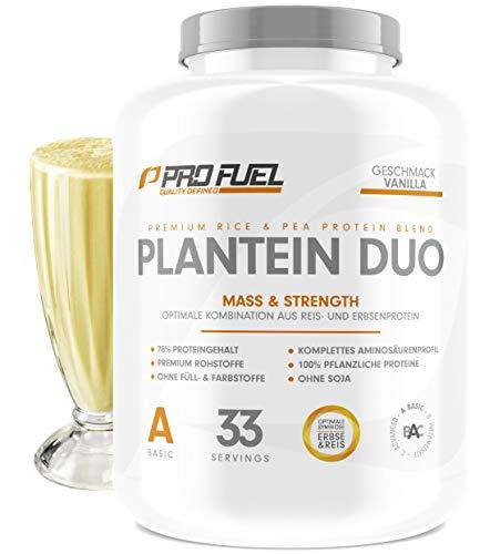 PLANTEIN DUO | Premium Protein-Mix auf pflanzlicher Basis | 100% Vegan Protein Powder & High Protein | Cremig & Lecker | Made in Germany | 1kg - VANILLA (Vanille) -
