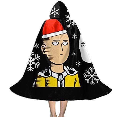 KUKHKU One Punch Man Merry Christmas Ok Unisex Kinder Kapuzenumhang Umhang Umhang Umhang Cape Halloween Party Dekoration Rolle Cosplay Kostüme Outwear -