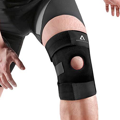 Anoopsyche Réglable Genouillère Ligamentaire et Ouverte Rotulienne, Tennis Genouillère, Antidérapant Attelle Genou pour Arthrite, Douleur au Ménisque, Rugby, Basketball, Course à Pied