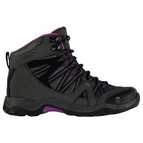 Gelert Damen Ottawa Mid Wanderstiefel Wanderschuhe Trekking Stiefel Outdoor Boots Charcoal/Purple