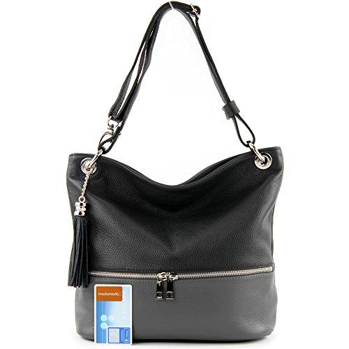 modamoda de - ital. Ledertasche Damentasche Umhängetasche Tasche Schultertasche Leder T143 Schwarz/Dunkelgrau