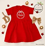 Personalised Bow Wreath Name Girls Christmas Dress