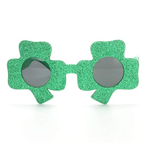 BESTOYARD St. Patrick's Day Clover Brillen Irish Shamrock verlässt grün Fanci-Frames Glitter Brillen 2tlg. (Grün)