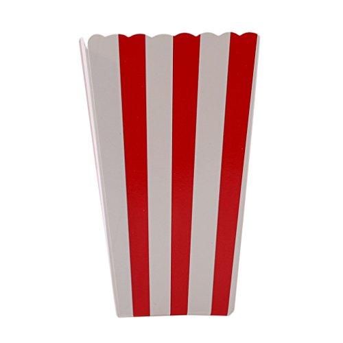 LJSLYJ 12 Stück Stripe Popcorn Tüte Papiertüte Popcorn-Boxen (rot)