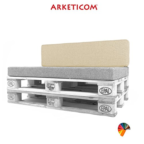 Arketicom Pallett-One, Cojin Respaldo para Sofa en Pallet, Poliuretano HD, Tejido Beige Ecru Misto Cotone 80 cm Lung x 30 cm alt x 15 grossor. 1000% Artesania Italiana