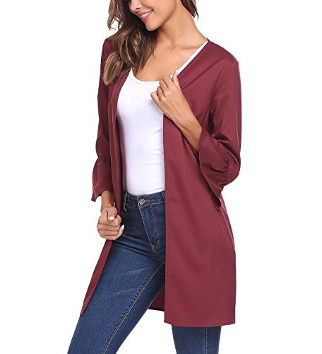 Modfine - Gilet - Uni - Femme rouge bordeaux