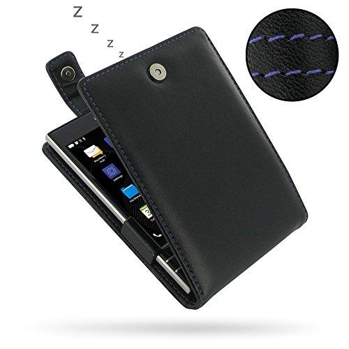 Flip-top-blackberry (PDair BlackBerry Passport Flip Folio Handyhülle (Lila Stich), [Echt Leder] Vertikal Folio Magnetisch Tasche traditioneller Stil Schutzhülle | Handgemacht Leder Flip Top Hülle für BlackBerry Passport)