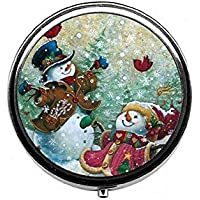 LinJxLee Christmas Snowmen Round Pill Case Pill Box Tablet Vitamin Organizer Easy to Carry preisvergleich bei billige-tabletten.eu