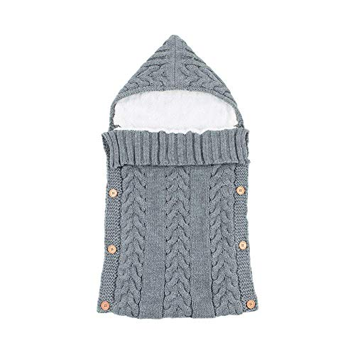 (NBWS Neugeborenes Baby Gestrickt Wickeln Swaddle Decke Schlafsack für 0-12 Monat Baby (Grau))
