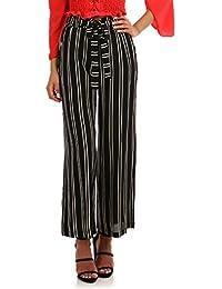 La Modeuse Pantalon coupe large et fluide à rayures