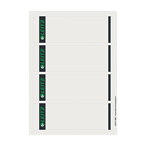 Leitz 16850085 Rückenschild selbstklebend PC, Papier, kurz, breit, 400 Stück, grau