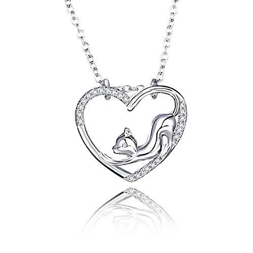 WikiMiu Kette Herz Damen, Halskette mit Katze Anhänger mit Zirkon, Süßer Stil Modeschmuck, perfektes Geschenk für Frauen zum Geburtstag Weihnachten und Valentinstag