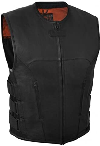 True Element Mens Swat Team Style Leather Motorcycle Vest with Side Size Adjustment (Black, XXX-Large) (Swat Team Abbigliamento)