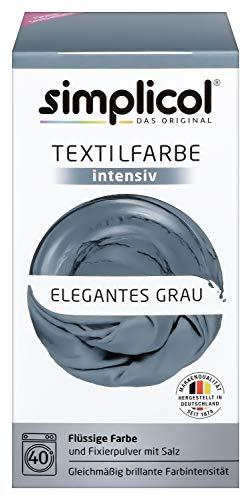 Simplicol Textilfarbe Intensiv (18 Farben), Elegantes Grau 1817: Einfaches Textilfärben in der Waschmaschine, Komplettpackung mit Färbemittel und Fixierpulver