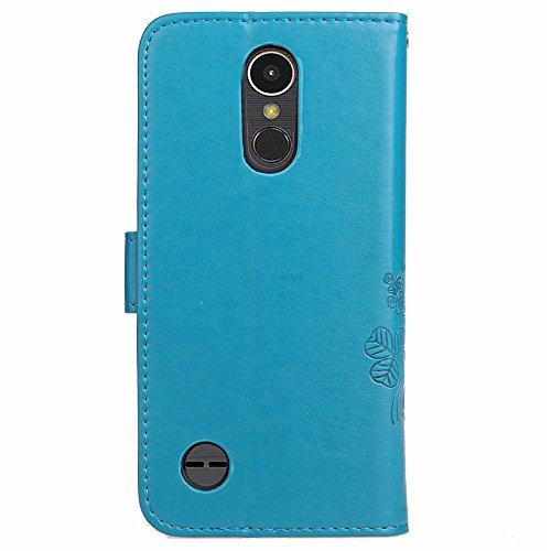 EKINHUI Case Cover Double Magnetic Back Sucktion Retro Style PU Leder Flip Stand Case mit Kickstand und Wallet Beutel Funktion für LG K4 (2017) ( Color : Rose ) Blue