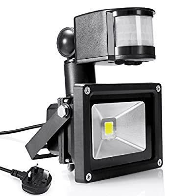 Warmoon LED Flood Light 10W Daylight White PIR Motion Sensor Light 6500K 1200lm Waterproof Security Lights with UK Standard Plug Floodlights by warmoon direct