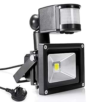 Warmoon LED Motion Sensor Flood Light 10W Daylight White 6500K 1200lm Wat