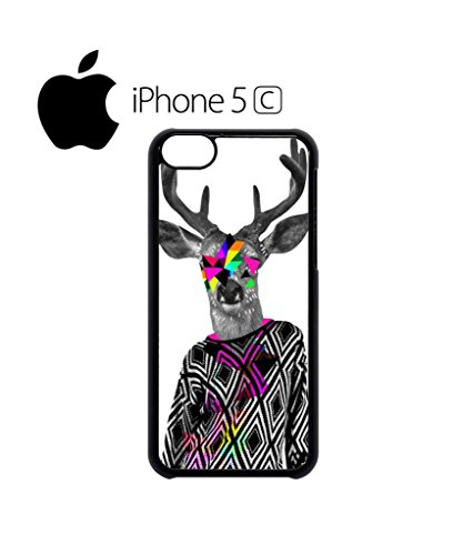 Deer Big Horn Colourful Jumper Cell Phone Case Cover iPhone 5c Black Weiß