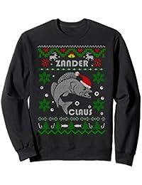 Zander Claus Angeln Weihnachtsgeschenk Raubfisch Angler Sweatshirt