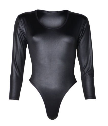 The Home of Fashion New Womens Black PVC Wet Look Long Sleeved Leotard Bodysuit Top