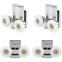 Set of 4 Shower Door Rollers Twin Roller Runners Wheels Pulleys Zinc Alloy 23mm Wheel Diameter Top Bottom Bathroom Replacement Parts (2 top+2 Buttom)