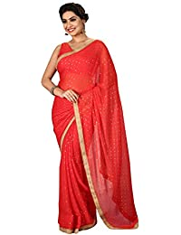 1 Stop Fashion Women's Red Color Georgette Saree With Embroidery & Blouse