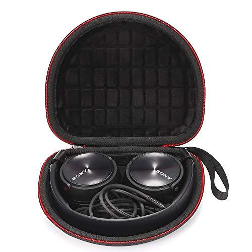 Étui de Transport Rigide pour Casque d'écoute pour Sony MDRZX110NC / ZX300 / ZX310 / MDRZX110 ZX Series/Casque d'écoute Extra Grave MDRZX110AP, Sac de Rangement Protecteur - Noir (Doublure Noire)
