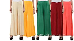 Rooliums Brand Factory Outlet Womens Light Weight Palazzo Pack of 5 - Free Size (Beige,Orange,Green,Maroon,Peach)