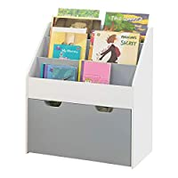SoBuy® KMB17-HG, Children Kids Bookcase Book Shelf Storage Display Rack Organizer Holder, Storage Drawer on Wheels