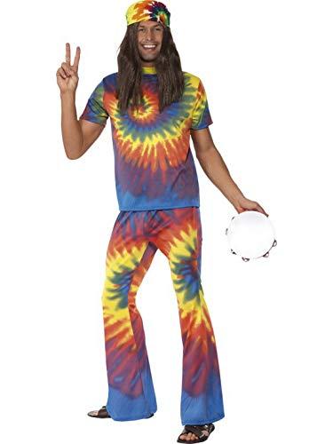 Fancy Ole - Herren Männer Männer buntes Jamaika Hippie Flower Power Kostüm mit Schlaghose und Schnurbatik Oberteil, perfekt für Karneval, Fasching und Fastnacht, L, ()