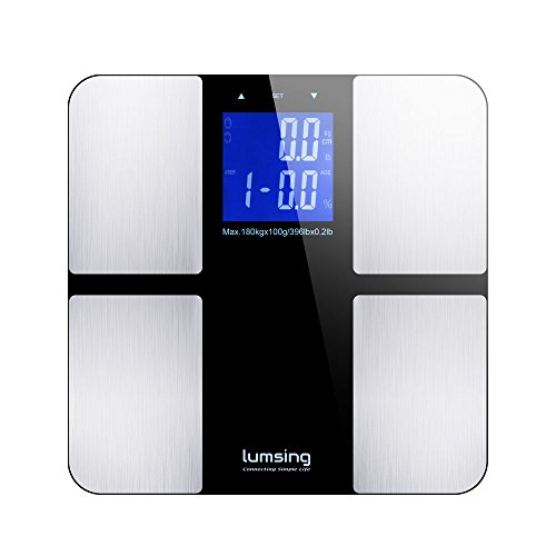 Lumsing Bathroom Weight Scale, Lumsing Digital Body Fat Scale Health Monitor with Tempered Glass,400lbs Capacity (Silver)