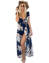 Robe, Kingwo Bohême Mousseline V Neck Manches Courtes Robe de plage