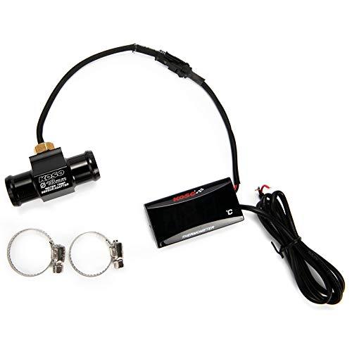 Kampre Motorrad Thermometer LCD Digitales Wassertemperatur Adapter Aluminium Temperatur für Roller Racing (18mm Schlauch)