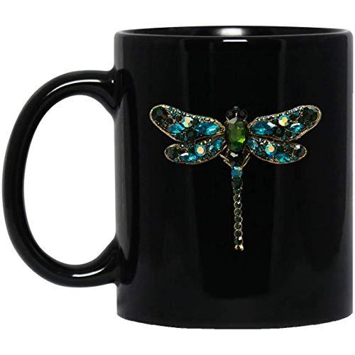 Jewel Dragonfly 11 oz. Black Mug -