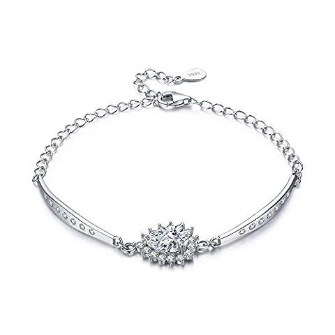 LDUDU® Damen Armkette mit Tropfenform-Zirkonia 925 Silber Bling Armband Geschenk