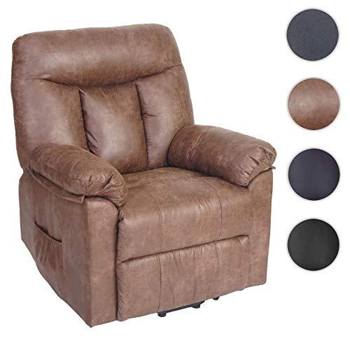 Mendler Fernsehsessel Watford, Relaxsessel Liege Sessel, Aufstehhilfe ~ Wildlederimitat, Stoff/Textil