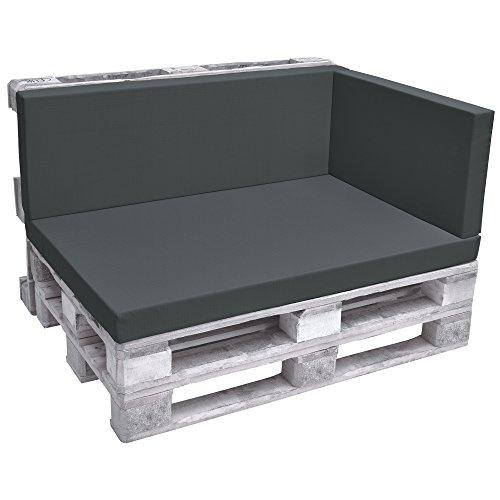Beautissu ECO Pure Coussins Exterieur pour Canape Euro Palette Banquette - Assise - 70x40x8cm - Graphite Gris