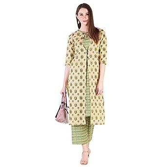 Khushal K Women's Cotton Floral Printed Kurta Palazzo Set