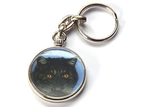 Moody Motorz Exotisch Schwarzer Rauch Katze Kätzchen Hochwertig Chrom Schlüsselring Bild Beide Seiten