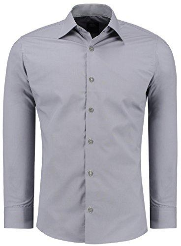Jeel Langarm Herren Hemd Business Freizeit Hochzeit Slim Fit Tailliert 205 - Grau L