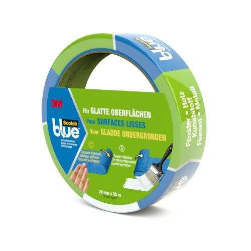 ScotchBlue 20932425 Malerabdeckband (Malerkrepp) optimale Klebkraft auf glatten Oberflächen, 24 mm x 25 m, blau