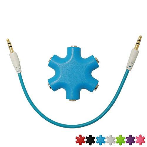 SUNYOUNGER 6-Way 3.5mm Stereo Audio Kopfhörer Hub Splitter Netzkabel und Mehrfachsteckleisten AUX-Kabel Splitter Kopfhörer Verteiler Verlängerung Adapter Buchse Musik Sharing Audio Kabel Up to 5 Kopfhörer to iPod MP3