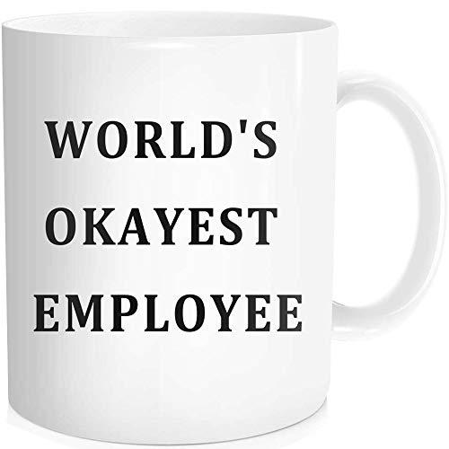 Lustige Kaffeetasse mit inspirierendem Zitat für Männer und Frauen - World 's Okayest Employee - Geschenkidee, weiße feine Knochen-Keramik, 325 ml (Nicht Sie Klopfen Halloween Auf)