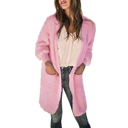 (PAOLIAN Damen Wintermantel Winter Warm Dicker Long Mantel Strickjacke Einfarbig Jacke Bluse)