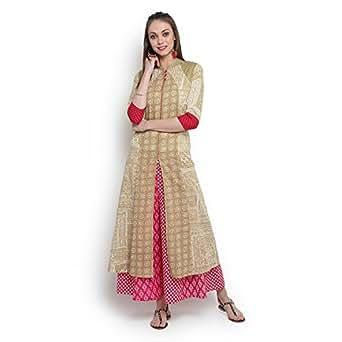 Suthidori Mandrain Collar 3/4 Sleeves Block Printed Panelled Front Open Kurta For Women's & Girl's - Medium (SD022)