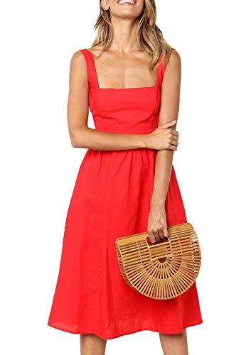 Damen Kleider Sommer A-Linie Kleid Casual Elegant Ärmellos Strand Vintage Midi Kleid (rd,s)
