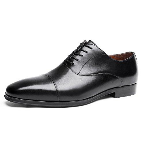 Desai Männer Casual Formal Business Lace Up Echtes Leder Oxfords Schuhe für Hochzeit oder Büro,  43 EU, Schwarz (Herren Oxford-schwarze Schuhe)
