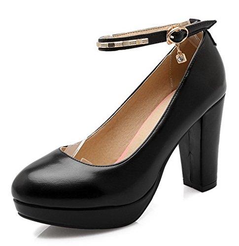 AllhqFashion Damen Hoher Absatz Weiches Material Eingelegt Schnalle Rund Zehe Pumps Schuhe Schwarz