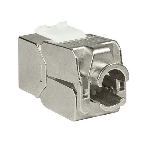 Faconet® 2x Keystone CAT 6A Netzwerk RJ45 LAN Einbaubuchse Slim Type voll geschirmt, werkzeuglos, kleine Bauform, Jack toolless STP -