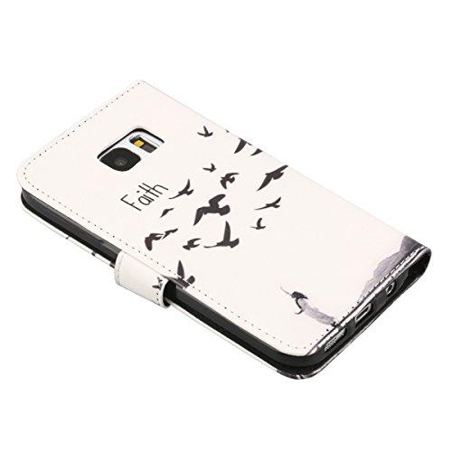 Coque Etui pour Galaxy S6, Galaxy S6 Coque Painted Relief Portefeuille PU Cuir Etui, Galaxy S6 Coque de Protection en Cuir Folio Housse, Galaxy S6 Leather Case Wallet Flip Cover Protector, Ukayfe Etui foi